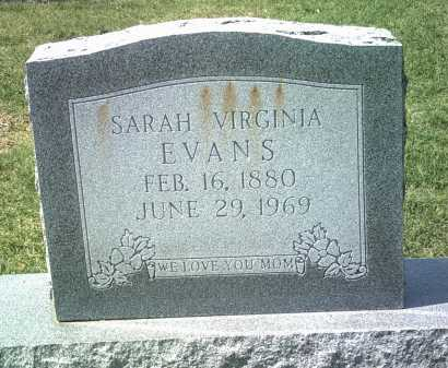 EVANS, SARAH VIRGINIA - Jackson County, Arkansas | SARAH VIRGINIA EVANS - Arkansas Gravestone Photos