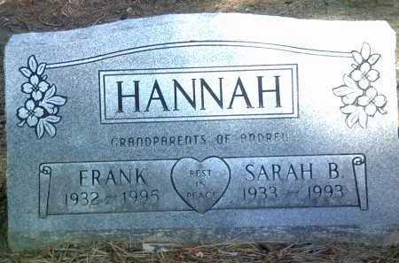HANNAH, SARAH B - Jackson County, Arkansas | SARAH B HANNAH - Arkansas Gravestone Photos