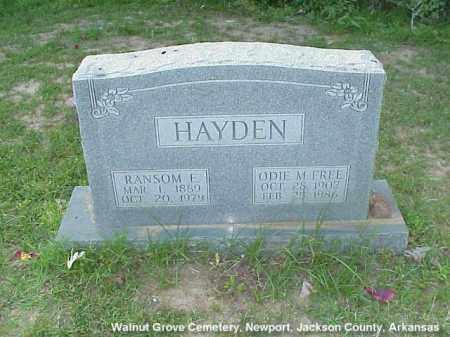 HAYDEN, RANSOM EDWIN - Jackson County, Arkansas | RANSOM EDWIN HAYDEN - Arkansas Gravestone Photos
