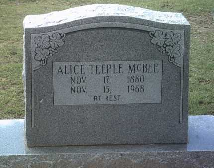 TEEPLE MCBEE, ALICE - Jackson County, Arkansas | ALICE TEEPLE MCBEE - Arkansas Gravestone Photos