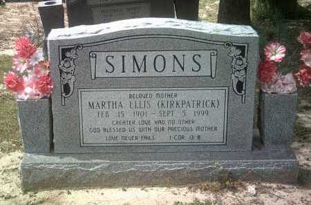 KIRKPATRICK SIMONS, MARTHA ELLIS - Jackson County, Arkansas | MARTHA ELLIS KIRKPATRICK SIMONS - Arkansas Gravestone Photos