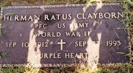 CLAYBORN  (VETERAN WWII), HERMAN RATUS - Johnson County, Arkansas | HERMAN RATUS CLAYBORN  (VETERAN WWII) - Arkansas Gravestone Photos