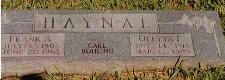 HAYNAL, FRANK A - Johnson County, Arkansas | FRANK A HAYNAL - Arkansas Gravestone Photos