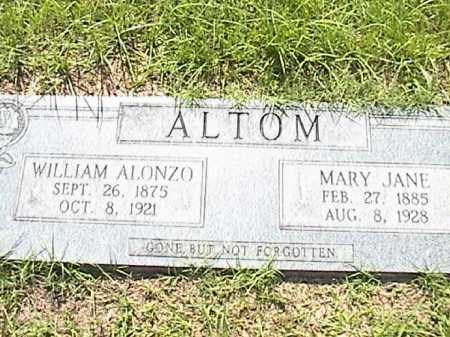 ALTOM, WILLIAM ALONZO - Lafayette County, Arkansas | WILLIAM ALONZO ALTOM - Arkansas Gravestone Photos