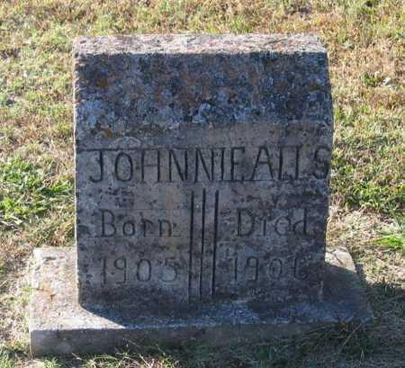 ALLS, JOHNNIE - Lawrence County, Arkansas | JOHNNIE ALLS - Arkansas Gravestone Photos