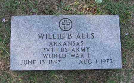 ALLS (VETERAN WWI), WILLIE BENJAMIN - Lawrence County, Arkansas | WILLIE BENJAMIN ALLS (VETERAN WWI) - Arkansas Gravestone Photos