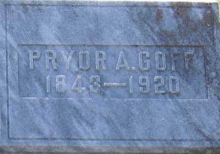 GOFF (VETERAN CSA), PRYOR A. - Lawrence County, Arkansas | PRYOR A. GOFF (VETERAN CSA) - Arkansas Gravestone Photos