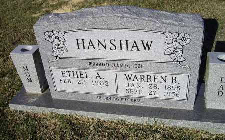 HANSHAW, WARREN B. - Lawrence County, Arkansas | WARREN B. HANSHAW - Arkansas Gravestone Photos
