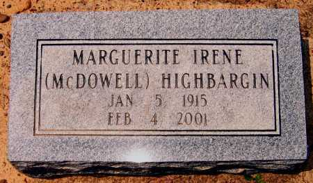 MCDOWELL HIGHBARGIN, MARGUERITE IRENE - Lawrence County, Arkansas | MARGUERITE IRENE MCDOWELL HIGHBARGIN - Arkansas Gravestone Photos