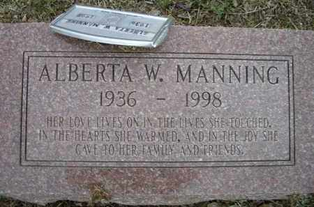 MANNING, ALBERTA W. - Lawrence County, Arkansas | ALBERTA W. MANNING - Arkansas Gravestone Photos