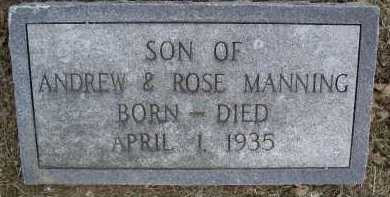 MANNING, INFANT SON - Lawrence County, Arkansas | INFANT SON MANNING - Arkansas Gravestone Photos