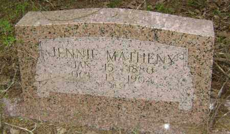 MATHENY, JENNIE - Lawrence County, Arkansas | JENNIE MATHENY - Arkansas Gravestone Photos