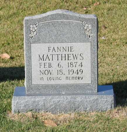 PICKETT MATTHEWS, FANNIE B. - Lawrence County, Arkansas | FANNIE B. PICKETT MATTHEWS - Arkansas Gravestone Photos