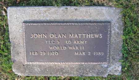 MATTHEWS (VETERAN WWII), JOHN OLAN - Lawrence County, Arkansas | JOHN OLAN MATTHEWS (VETERAN WWII) - Arkansas Gravestone Photos
