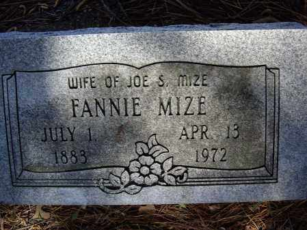MIZE, FANNIE - Lawrence County, Arkansas | FANNIE MIZE - Arkansas Gravestone Photos