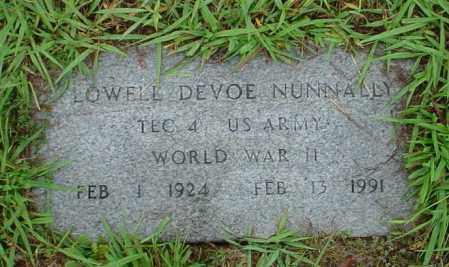 NUNNALLY (VETERAN WWII), LOWELL DEVOE - Lawrence County, Arkansas | LOWELL DEVOE NUNNALLY (VETERAN WWII) - Arkansas Gravestone Photos