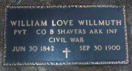 WILLMUTH  (VETERAN CSA), WILLIAM LOVE - Lawrence County, Arkansas | WILLIAM LOVE WILLMUTH  (VETERAN CSA) - Arkansas Gravestone Photos