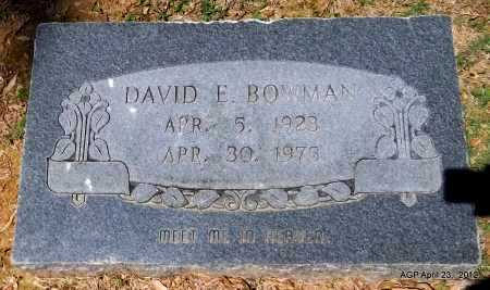 BOWMAN, DAVID E - Lee County, Arkansas | DAVID E BOWMAN - Arkansas Gravestone Photos