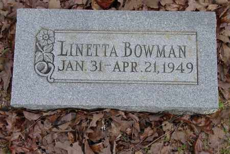 BOWMAN, LINETTA - Logan County, Arkansas | LINETTA BOWMAN - Arkansas Gravestone Photos