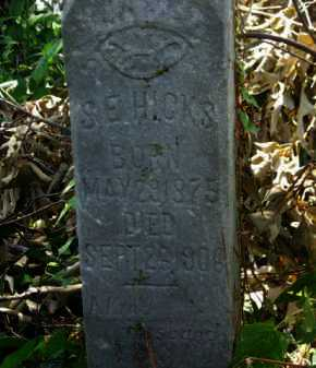 HICKS, S E (CLOSEUP) - Logan County, Arkansas | S E (CLOSEUP) HICKS - Arkansas Gravestone Photos