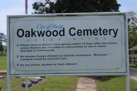 *OAKWOOD CEMETERY SIGN,  - Logan County, Arkansas |  *OAKWOOD CEMETERY SIGN - Arkansas Gravestone Photos