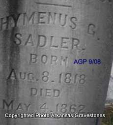 SADLER, HYMENUS G - Logan County, Arkansas | HYMENUS G SADLER - Arkansas Gravestone Photos