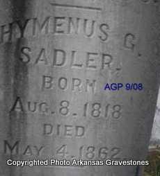 SADLER, HYMENUS G - Logan County, Arkansas | HYMENUS G SADLER - Arkansas Gravestone Photos