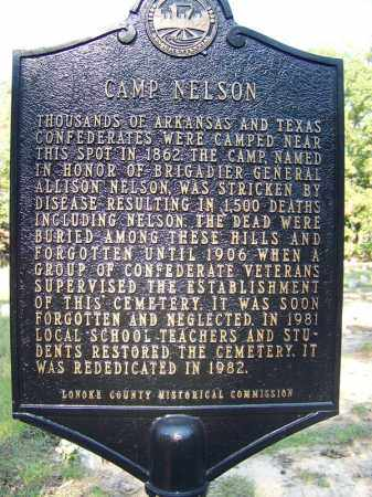 *CAMP NELSON (FAMOUS), HISTORICAL MARKER - Lonoke County, Arkansas | HISTORICAL MARKER *CAMP NELSON (FAMOUS) - Arkansas Gravestone Photos