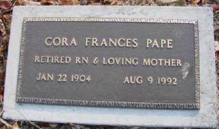 PAPE, CORA FRANCES - Marion County, Arkansas | CORA FRANCES PAPE - Arkansas Gravestone Photos