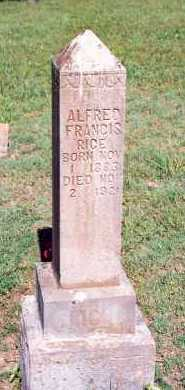 RICE, ALFRED FRANCIS - Marion County, Arkansas | ALFRED FRANCIS RICE - Arkansas Gravestone Photos