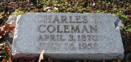COLEMAN, CHARLES T. - Mississippi County, Arkansas | CHARLES T. COLEMAN - Arkansas Gravestone Photos