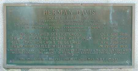 DAVIS  (PLAQUE), HERMAN - Mississippi County, Arkansas | HERMAN DAVIS  (PLAQUE) - Arkansas Gravestone Photos