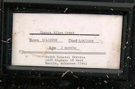 GREER, CHANCE ALLEN - Mississippi County, Arkansas | CHANCE ALLEN GREER - Arkansas Gravestone Photos