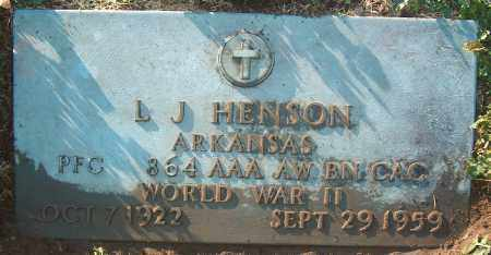 HENSON (VETERAN WWII), L J - Mississippi County, Arkansas | L J HENSON (VETERAN WWII) - Arkansas Gravestone Photos