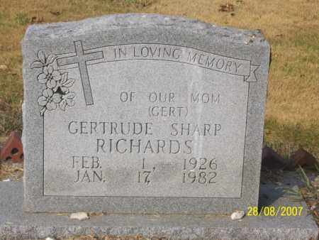 SHARP RICHARDS, GERTRUDE 'GERT' - Mississippi County, Arkansas | GERTRUDE 'GERT' SHARP RICHARDS - Arkansas Gravestone Photos