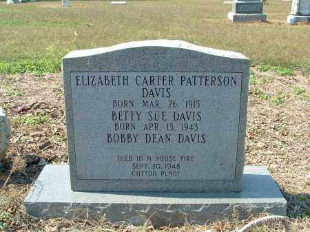 CARTER PATTERSON DAVIS, ELIZABETH - Monroe County, Arkansas | ELIZABETH CARTER PATTERSON DAVIS - Arkansas Gravestone Photos