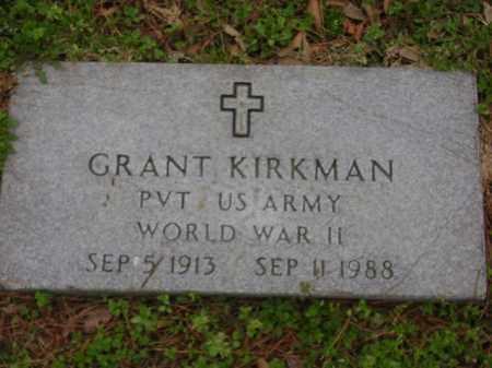 KIRKMAN (VETERAN WWII), GRANT - Monroe County, Arkansas | GRANT KIRKMAN (VETERAN WWII) - Arkansas Gravestone Photos
