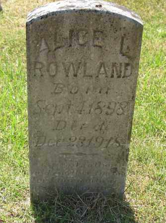 ROWLAND, ALICE L. - Montgomery County, Arkansas | ALICE L. ROWLAND - Arkansas Gravestone Photos
