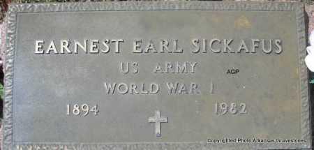 SICKAFUS  (VETERAN WWI), EARNEST EARL - Montgomery County, Arkansas | EARNEST EARL SICKAFUS  (VETERAN WWI) - Arkansas Gravestone Photos