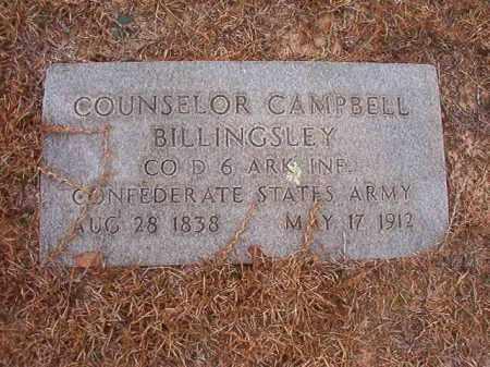 BILLINGSLEY (VETERAN CSA), COUNSELOR CAMPBELL - Nevada County, Arkansas | COUNSELOR CAMPBELL BILLINGSLEY (VETERAN CSA) - Arkansas Gravestone Photos