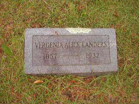 LANDERS, VERGENIA ALICE - Nevada County, Arkansas | VERGENIA ALICE LANDERS - Arkansas Gravestone Photos