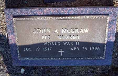 MCGRAW (VETERAN WWII), JOHN A - Nevada County, Arkansas | JOHN A MCGRAW (VETERAN WWII) - Arkansas Gravestone Photos