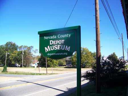 *PRESCOTT DEPOT MUSEUM, MUSEUM SIGN - Nevada County, Arkansas | MUSEUM SIGN *PRESCOTT DEPOT MUSEUM - Arkansas Gravestone Photos