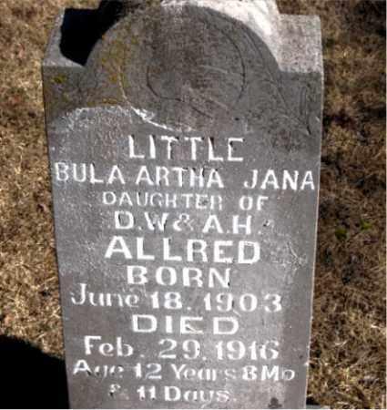 ALLRED, BULA ARTHA JANA - Newton County, Arkansas | BULA ARTHA JANA ALLRED - Arkansas Gravestone Photos
