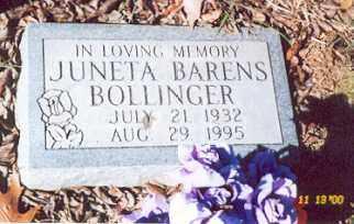 BARENS BOLLINGER, RETHA JUNETA - Newton County, Arkansas | RETHA JUNETA BARENS BOLLINGER - Arkansas Gravestone Photos