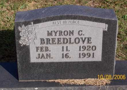 BREEDLOVE, MYRON C. - Newton County, Arkansas | MYRON C. BREEDLOVE - Arkansas Gravestone Photos