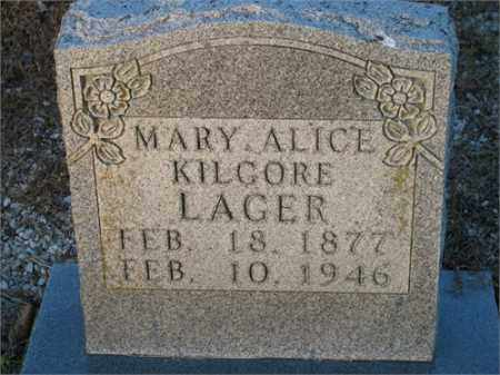 LAGER, MARY ALICE - Newton County, Arkansas | MARY ALICE LAGER - Arkansas Gravestone Photos