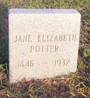 POTTER, JANE ELIZABETH - Newton County, Arkansas | JANE ELIZABETH POTTER - Arkansas Gravestone Photos