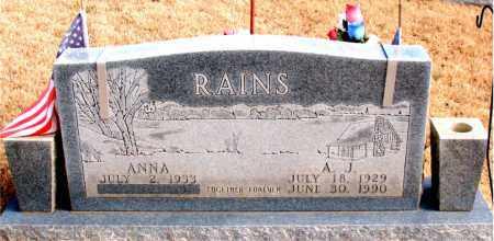 RAINS, A. J. - Newton County, Arkansas   A. J. RAINS - Arkansas Gravestone Photos