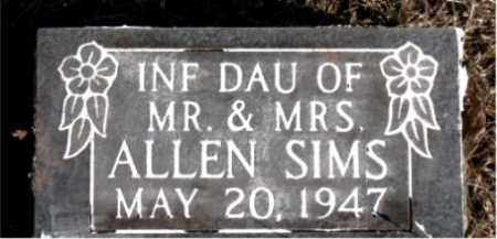 SIMS, INFANT DAUGHTER - Newton County, Arkansas | INFANT DAUGHTER SIMS - Arkansas Gravestone Photos